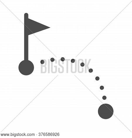 Golf Course Solid Icon, Golf Concept, Golf Ball Going Into Hole Sign On White Background, Golfball G