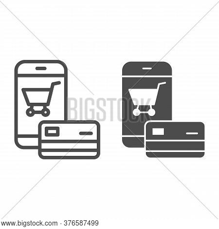 Smartphone And Credit Card Line And Solid Icon, Shopping Concept, Mobile Payment From Credit Card Si