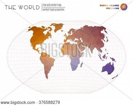 World Map In Polygonal Style. Winkel Tripel Projection Of The World. Purple Orange Colored Polygons.