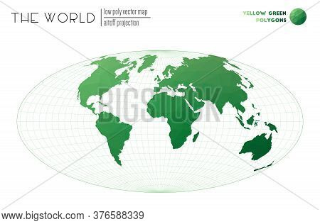 Low Poly World Map. Aitoff Projection Of The World. Yellow Green Colored Polygons. Contemporary Vect