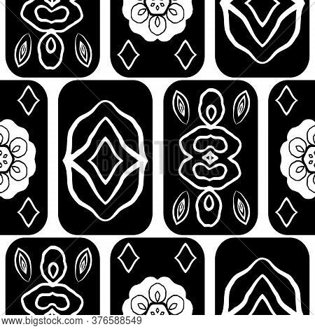 Vector Black And White Mexican Tile Style Seamless Pattern Background. Modern Geometric Backdrop Wit