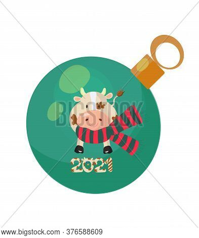 Christmas Tree Bauble Decorated With A Bull Wearing A Scarf And 2021 Figures. Vector Illustration.