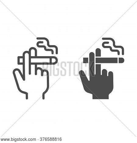Hand With A Cigarette Line And Solid Icon, Smoking Concept, Hand Holding Cigarette Sign On White Bac