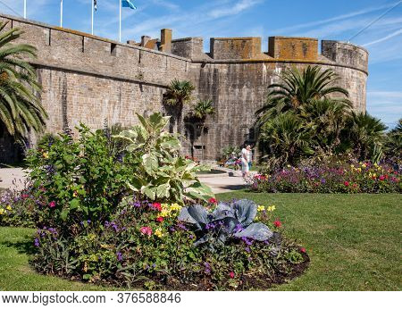 St Malo, France - September 14, 2018: The City Walls  Of St. Malo In Brittany, France