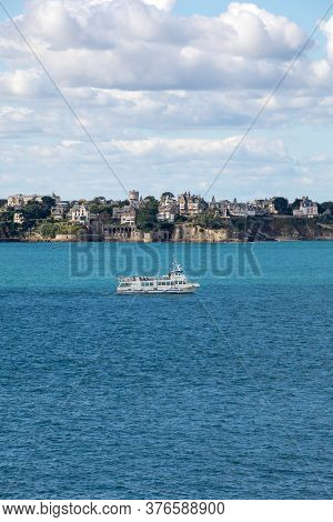 St Malo, France - September 14, 2018: View From The Ramparts At The Town Of Dinard. Saint Malo, Brit