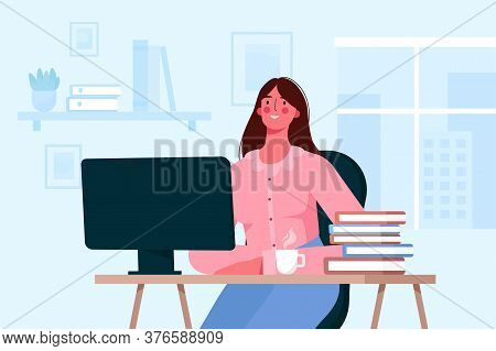 Online Education Or Remote Work Concept. Student Learning, Working Online At Home. Woman Sitting At