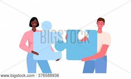 Puzzle Relationship Concept. Team Metaphor. Couple Connecting Puzzle Elements.vector Cartoon Illustr
