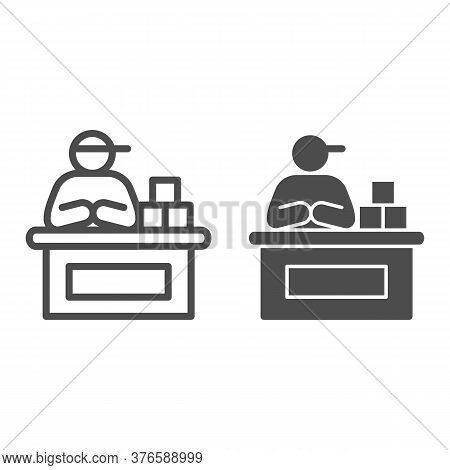 Market Seller Line And Solid Icon, Market Concept, Male Seller At Checkout Sign On White Background,
