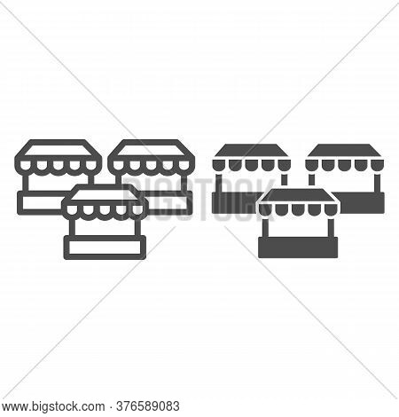 Stalls Line And Solid Icon, Market Concept, Three Street Shops Sign On White Background, Bazaar Stan