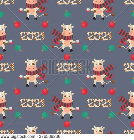 Chinese New Year Seamless Pattern With A Bull Playing Snowballs And 2021 Figures On Gray Background.