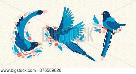 Taiwan Blue Magpie. Symbol Of Taiwan Urocissa Caerulea. Exotic Birds Of Taiwan, China And Of Asia. B