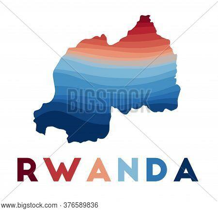 Rwanda Map. Map Of The Country With Beautiful Geometric Waves In Red Blue Colors. Vivid Rwanda Shape