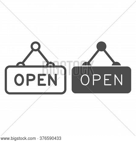 Open Door Signboard Line And Solid Icon, Shopping Concept, Open Hanging Sign On White Background, Op