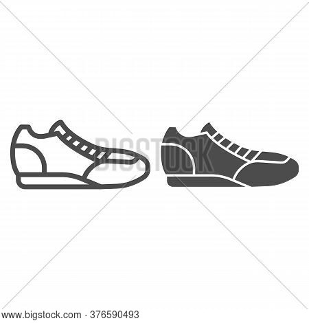 Sneaker Line And Solid Icon, Sport Concept, Running Shoe Symbol On White Background, Fitness Sneaker