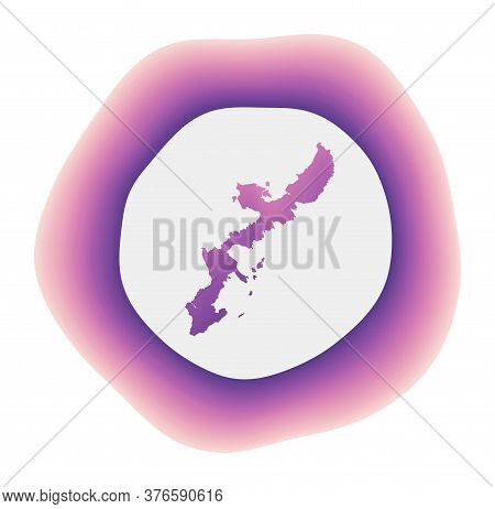 Okinawa Island Icon. Colorful Gradient Logo Of The Island. Purple Red Okinawa Island Rounded Sign Wi