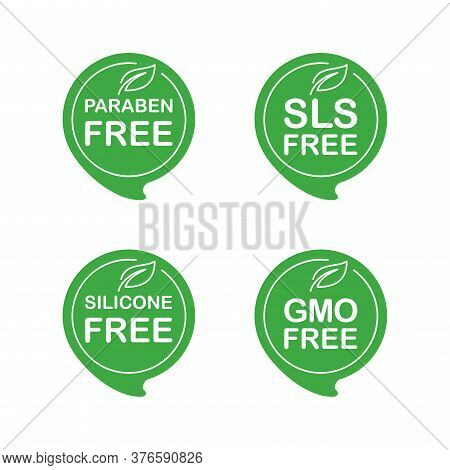 Natural Eco Products Sticker Set - Paraben Free, Sls Free, Silicone Free, Gmo Free - Isolated Eco Fr
