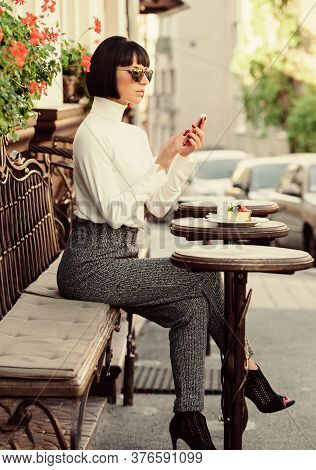 Call Friend. Leisure Concept. Girl Fashionable Lady With Smartphone. Pleasant Time And Leisure. Rela