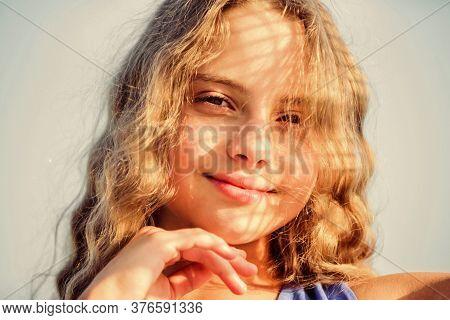 Take Care Skin Put Sunscreen Cosmetics. Girl Kid Relaxing Outdoors. Uv Filter Sunscreen. Take Care.
