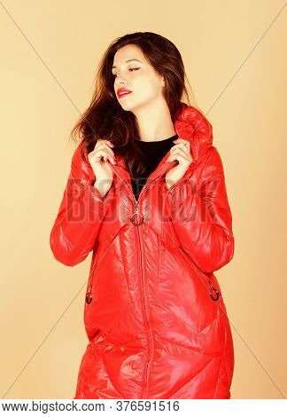 Warm Coat. Fashion Model. Comfortable Down Jacket. Red Color. Finding Right Winter Jacket Is Essenti