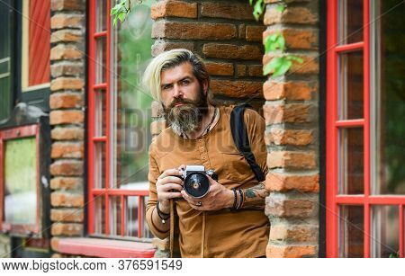 Creative Career. Brutal Man With Retro Camera. Professional Photographer Use Vintage Camera. Photogr