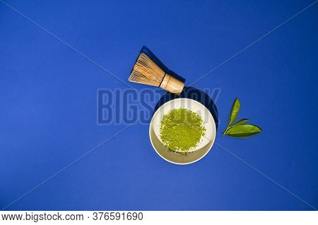 Matcha Tea. A Traditional Oriental Drink For Health And Energy. Powdered Green Tea And Whisk. Photos
