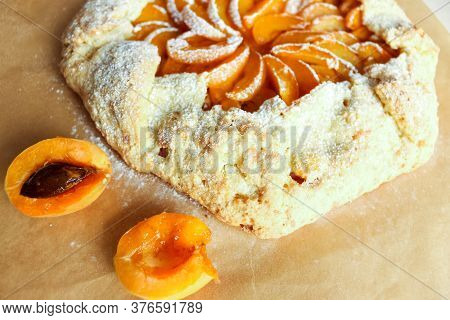 Apricot Pie. Apricot Pizza, Delicious And Sweet. Homemade Fruit Pie Or Galette Made With Fresh Organ