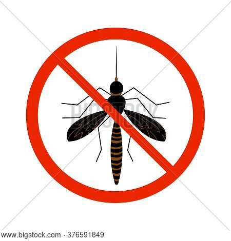 Mosquito Sign Isolated On White Background. Black Ant Silhouette Crossed In Red Circle. Pest Control