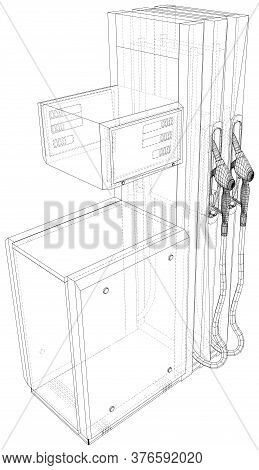 Gas Station. The Layers Of Visible And Invisible Lines Are Separated. Vector Rendering Of 3d. Wire-f