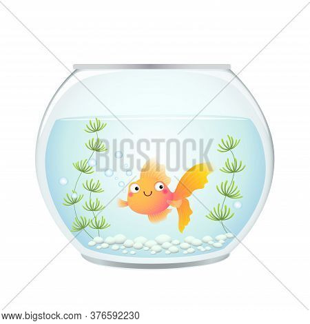 Vector Illustration Cute Cartoon Goldfish In A Fishbowl.