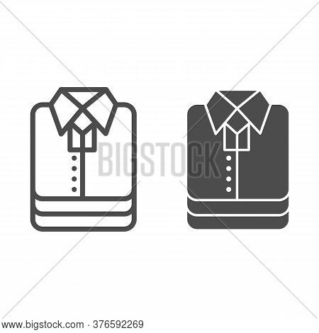 Shirt Stack Line And Solid Icon, Shopping Concept, Stacked Folded Clothes Sign On White Background,
