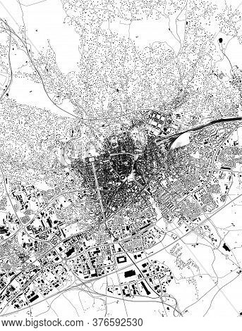 Map Of The City Of Nimes, Gard, Occitanie, France