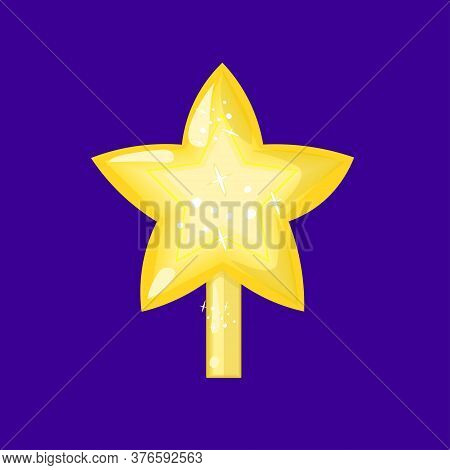 Shining Christmas Star Bauble Isolated On Blue Background. Vector Illustration.