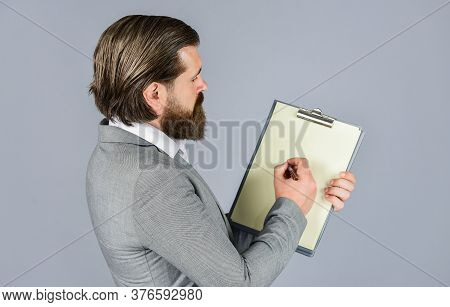 Lets Write It. Bearded Man Working In Office. Portrait Of Businessman Dressed In Formal Clothes. Ser