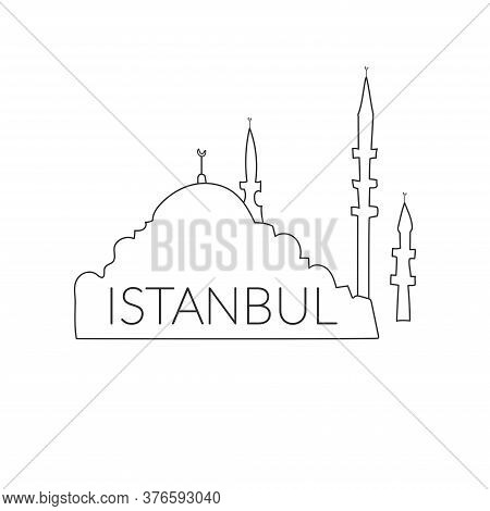Welcome To Turkey, Istanbul. Icon, Istanbul Logo On A White Background. Hand Drawing