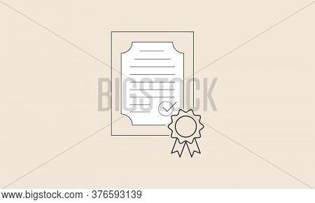 Certificate Design Concept, Permission Letter, Approval, Tax, Flat Design