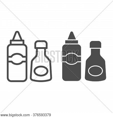 Sauce And Mustard Line And Solid Icon, Picnic Concept, Sauce Bottles Sign On White Background, Bottl