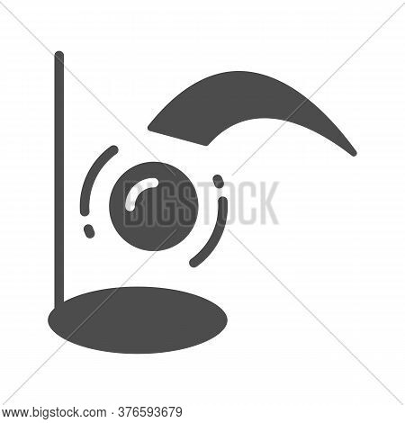 Golf Ball Flies Into Hole Solid Icon, Golf Concept, Golfing Sign On White Background, Golfball Flyin