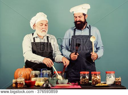Selected Ingredients. Homemade Meal. Prepare Food. Culinary Recipe. Culinary Book. Mature Bearded Me