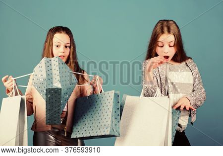 Shopping Day Happiness. Sisters Shopping Together. Buy Clothes. Fashionista Addicted Buyer. Fashion