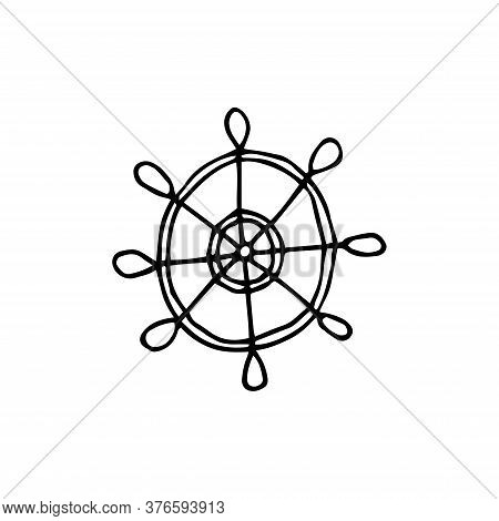 The Steering Wheel Is Hand-drawn In Doodle Style. Ship Steering Wheel Outline Icon. Linear Style Sig