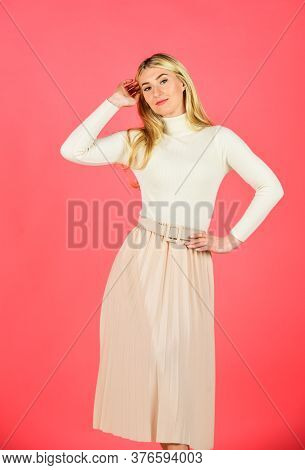 Femininity Concept. Fashion And Beauty. Fashion Model. Attractive Blonde. Clothes Shop. Clothes Stor