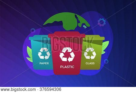 Waste Management Vector Illustration. Recycling And Reuse Garbage Sorting Concept. Multi-colored Eco