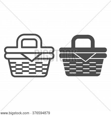 Picnic Basket Line And Solid Icon, Summer Time Concept, Wicker Picnic Basket Sign On White Backgroun