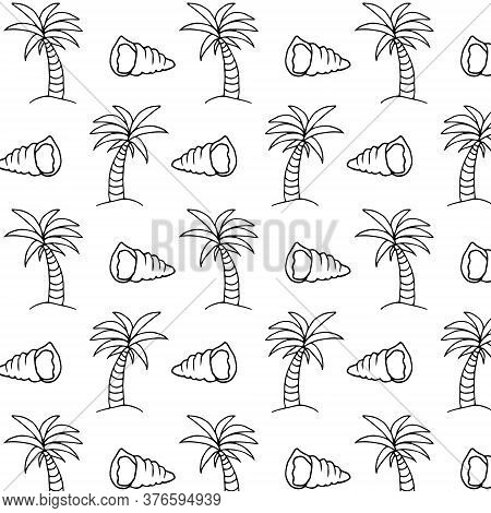 Summer Nautical Linear Pattern In Doodle Style. Nautical Seamless Pattern. Hand Drawn Summer Beach B