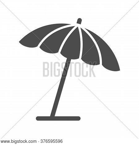Beach Umbrella Solid Icon, Summer Concept, Parasol Sign On White Background, Sun Umbrella Icon In Gl