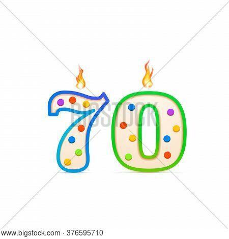 Seventy Years Anniversary, 70 Number Shaped Birthday Candle With Fire On White