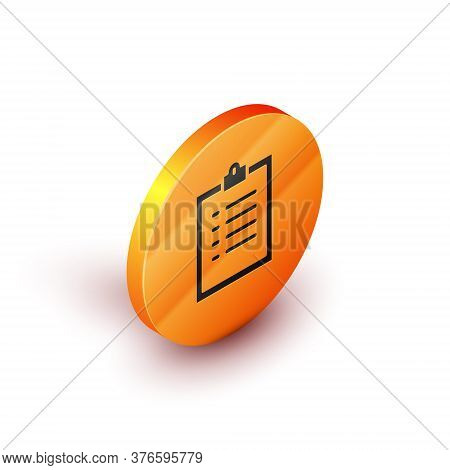 Isometric Clipboard With Checklist Icon Isolated On White Background. Control List Symbol. Survey Po