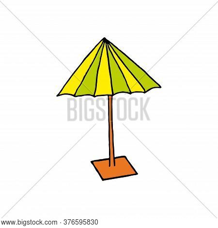 Beach Yellow, Light Green Umbrella, Rest On The Sea, Protection From Sunburn. Rain Protection. Isola