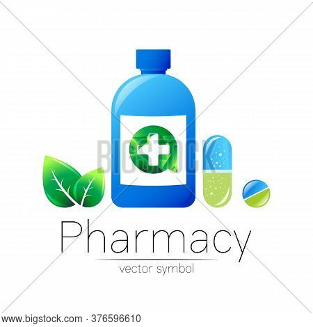 Pharmacy Vector Symbol Of Blue Bottle With Cross And Pill Tablet Capsule And Leaf For Pharmacist, Ph