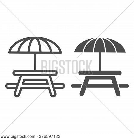 Outdoor Table With Umbrella Line And Solid Icon, Picnic Concept, Camping Table Sign On White Backgro
